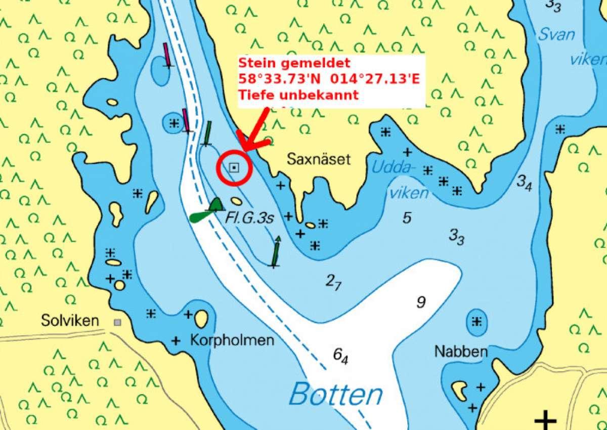 Gefährlicher Stein / Dangerous Rock - Navinfo bei Karlsborg