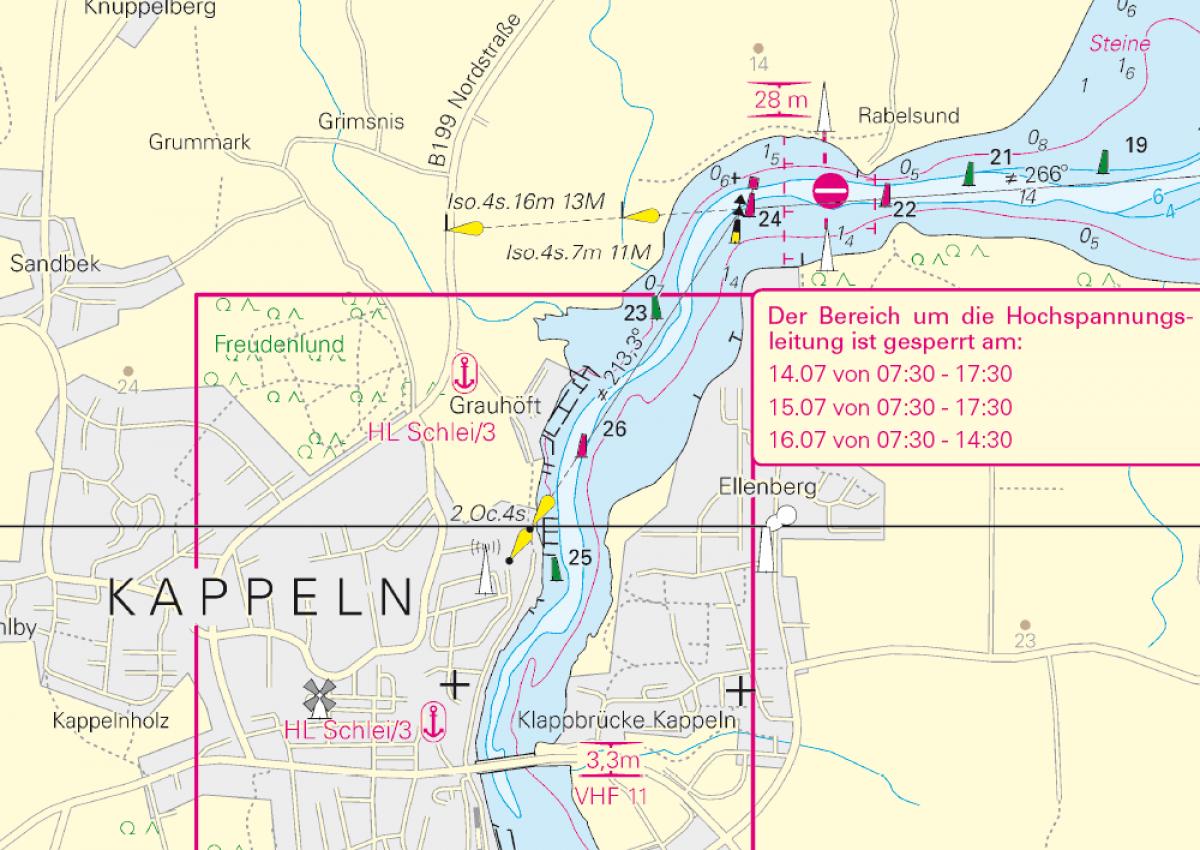 Schlei Sperrung/ Schlei Closure - Navinfo bei Kappeln (Ellenberg)